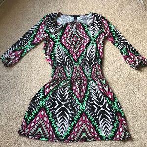 INC fun pattern dress 3/4 sleeve